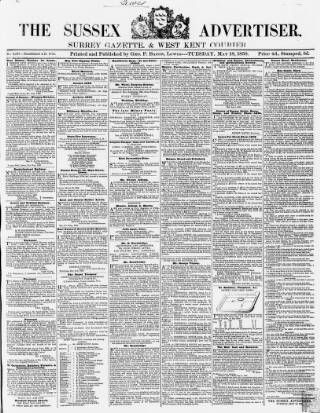 cover page of Sussex Advertiser published on May 18, 1858