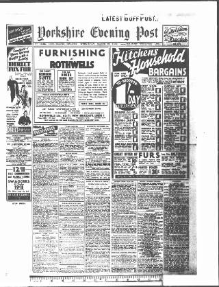 cover page of Yorkshire Evening Post published on March 23, 1938