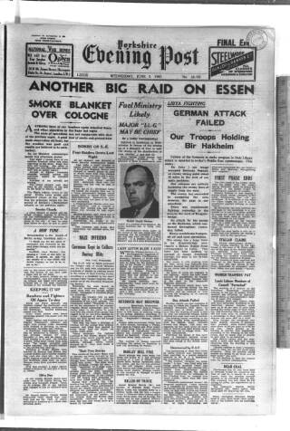 cover page of Yorkshire Evening Post published on June 3, 1942