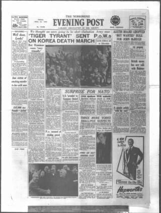 cover page of Yorkshire Evening Post published on April 24, 1953
