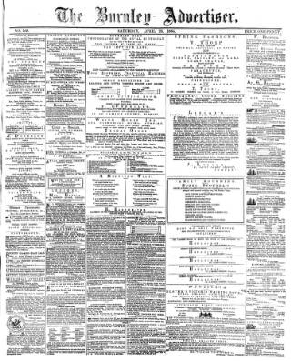 cover page of Burnley Advertiser published on April 23, 1864