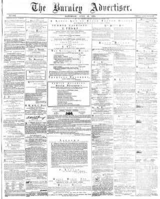 cover page of Burnley Advertiser published on July 16, 1864