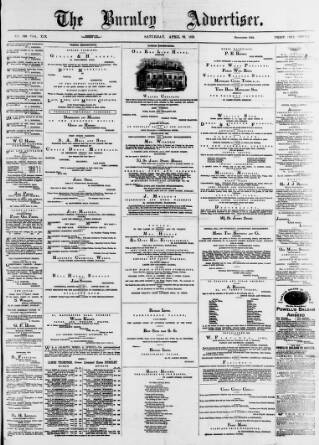 cover page of Burnley Advertiser published on April 22, 1876