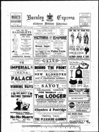 cover page of Burnley Express published on March 23, 1927