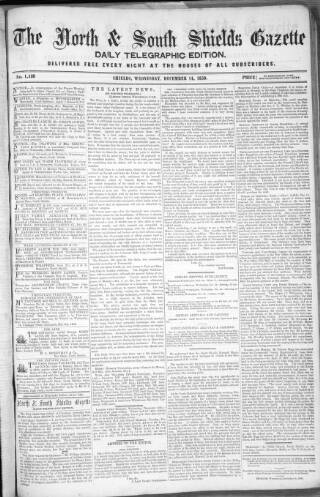 cover page of North & South Shields Gazette and Northumberland and Durham Advertiser published on December 14, 1859