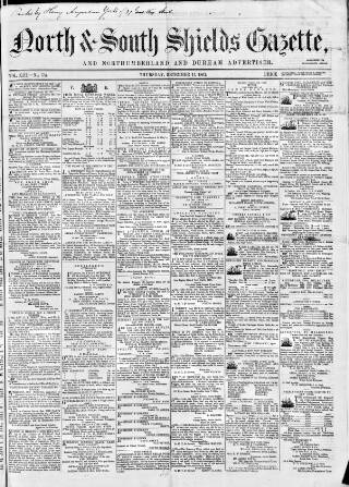 cover page of North & South Shields Gazette and Northumberland and Durham Advertiser published on December 17, 1863