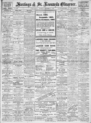 cover page of Hastings and St Leonards Observer published on December 11, 1909