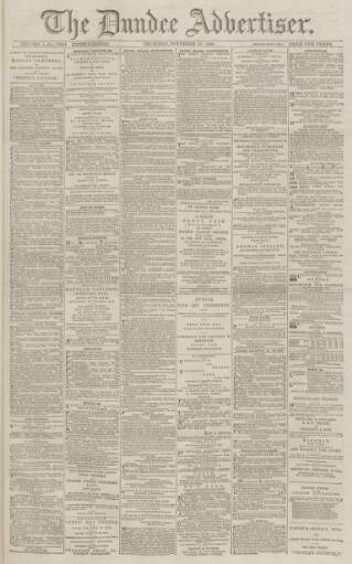 cover page of Dundee Advertiser published on November 21, 1889