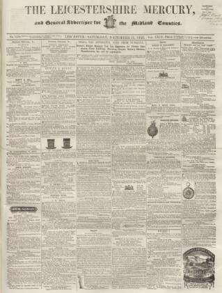 cover page of Leicestershire Mercury published on December 11, 1858