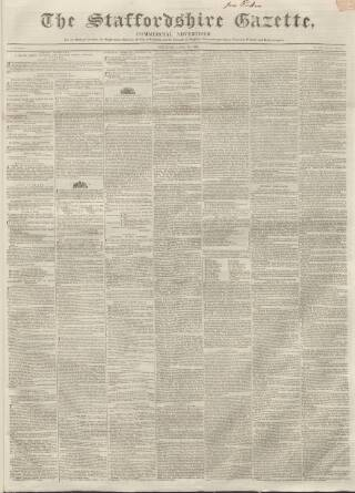 cover page of Staffordshire Gazette and County Standard published on April 18, 1840