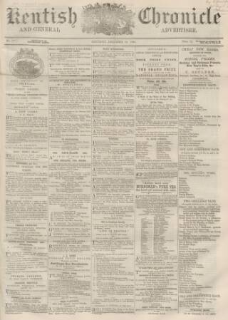 cover page of Kentish Chronicle published on December 13, 1862