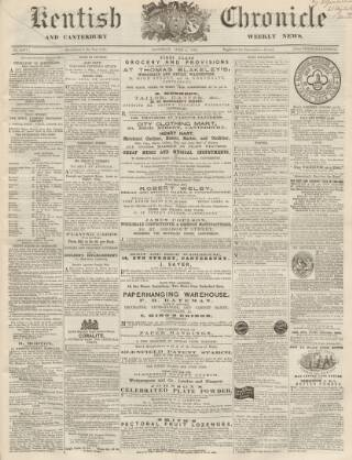 cover page of Kentish Chronicle published on June 3, 1865