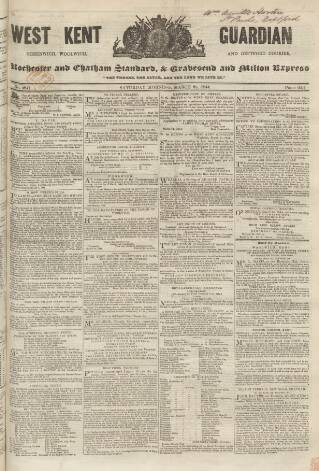 cover page of West Kent Guardian published on March 23, 1844