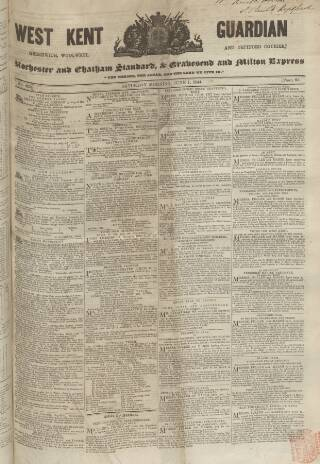 cover page of West Kent Guardian published on June 1, 1844