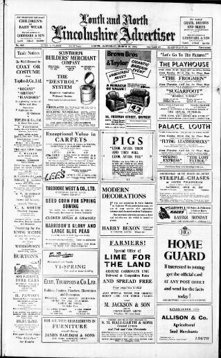 cover page of Louth and North Lincolnshire Advertiser published on March 29, 1952