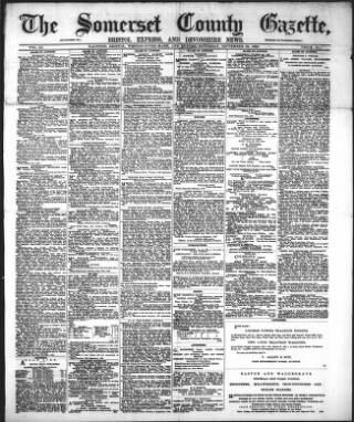 cover page of Somerset County Gazette published on September 29, 1888