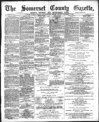 cover page of Somerset County Gazette published on December 15, 1888