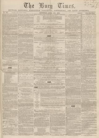 cover page of Bury Times published on April 19, 1862