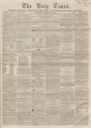 cover page of Bury Times published on October 18, 1862