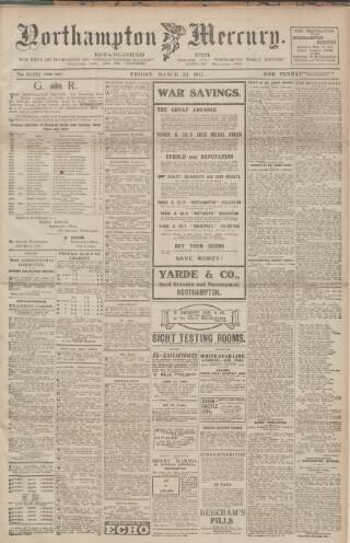 cover page of Northampton Mercury published on March 23, 1917