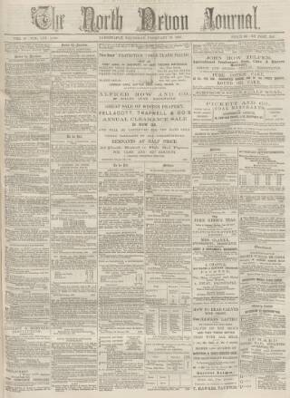 cover page of North Devon Journal published on February 19, 1885