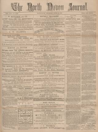 cover page of North Devon Journal published on April 18, 1895