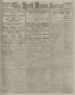 cover page of North Devon Journal published on July 18, 1918