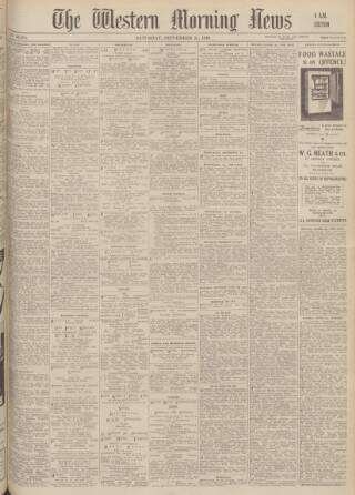 cover page of Western Morning News published on September 21, 1940