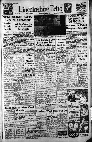cover page of Lincolnshire Echo published on October 19, 1942