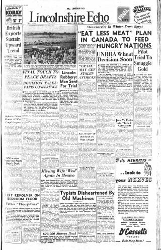 cover page of Lincolnshire Echo published on April 23, 1946
