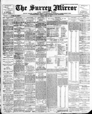 cover page of Surrey Mirror published on May 16, 1913