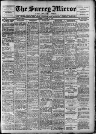 cover page of Surrey Mirror published on October 17, 1916