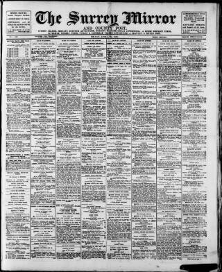 cover page of Surrey Mirror published on April 22, 1921