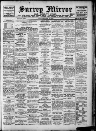 cover page of Surrey Mirror published on February 19, 1926