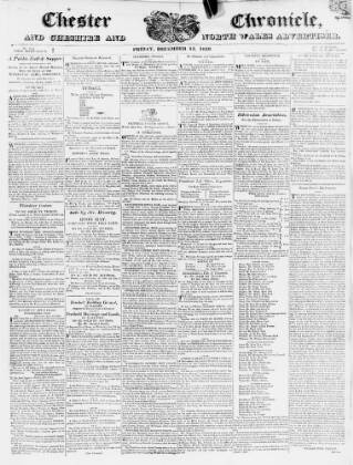 cover page of Chester Chronicle published on December 15, 1820