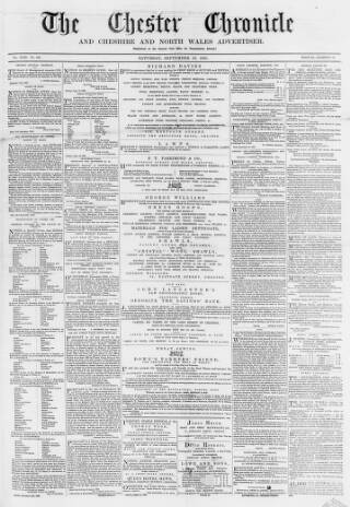 cover page of Chester Chronicle published on September 23, 1865