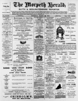 cover page of Morpeth Herald published on March 22, 1902