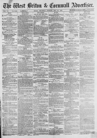 cover page of West Briton and Cornwall Advertiser published on May 26, 1870