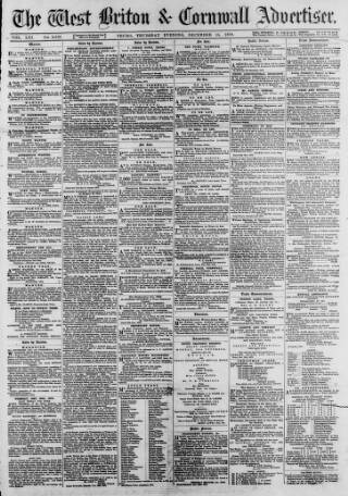 cover page of West Briton and Cornwall Advertiser published on December 15, 1870