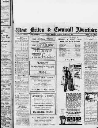 cover page of West Briton and Cornwall Advertiser published on March 22, 1920