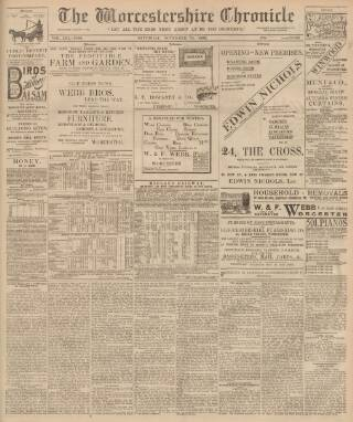 cover page of Worcestershire Chronicle published on November 25, 1899
