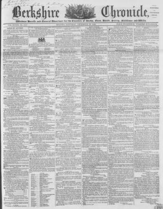 cover page of Berkshire Chronicle published on December 13, 1856