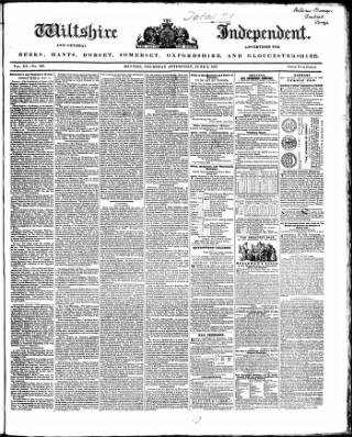 cover page of Wiltshire Independent published on June 3, 1847