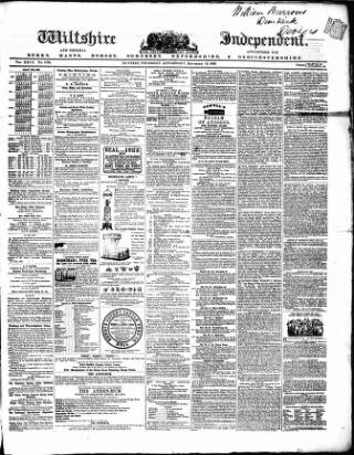 cover page of Wiltshire Independent published on December 15, 1859