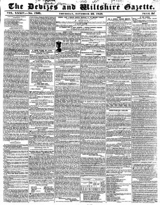 cover page of Devizes and Wiltshire Gazette published on November 22, 1849