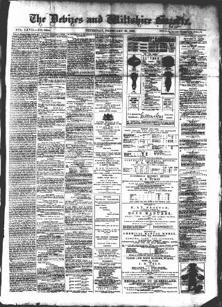 cover page of Devizes and Wiltshire Gazette published on February 23, 1882