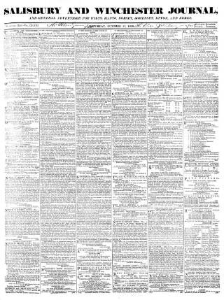 cover page of Salisbury and Winchester Journal published on October 17, 1868