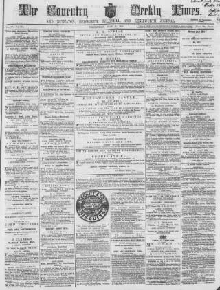 cover page of Coventry Times published on July 21, 1858