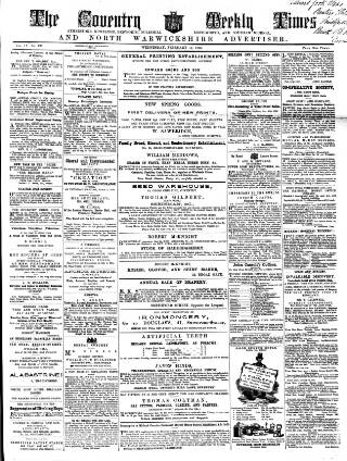 cover page of Coventry Times published on February 16, 1859