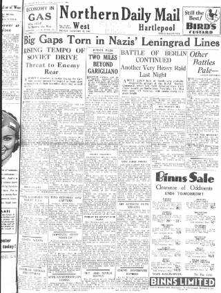 cover page of Hartlepool Northern Daily Mail published on January 21, 1944